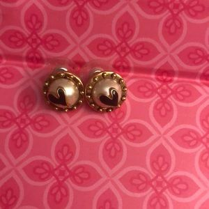 Betsey Johnson pearl heart stud earrings